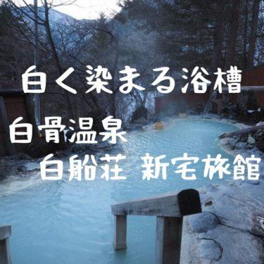 【白骨温泉】白船荘 新宅旅館。白く蓄積される見事な浴槽。